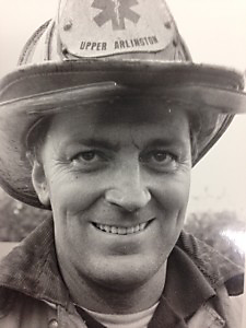 Tom Parr at the scene of a fire. Tom served as firefighter and paramedic from 1966 to 1981.